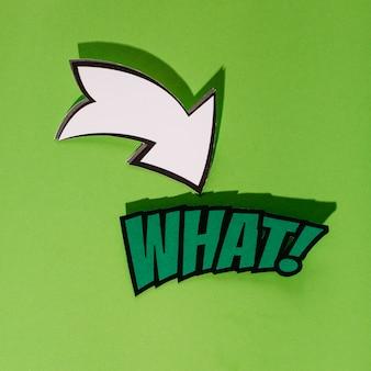 Welcher pop-arten-vektor mit pfeilzeichen auf grünem hintergrund
