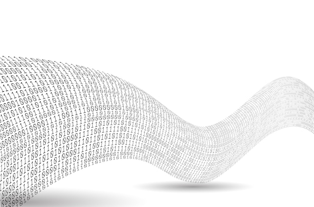 Welle des binärcodes. klang als binäre welle. abstrakter binärer hintergrund.