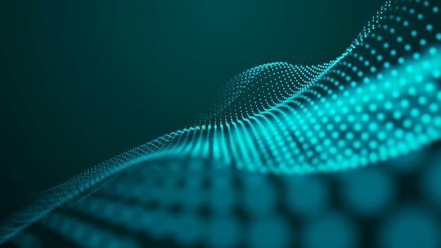 Welle mit verbindungspunkten und linien auf dunklem hintergrund. welle von partikeln. datentechnik illustration.