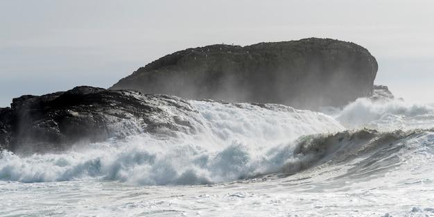 Wellen, die an der küstenlinie, pazifische rand-nationalpark-reserve, tofino, vancouver island, briten c spritzen