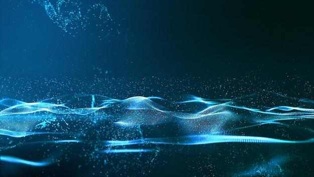 Wellen-zusammenfassungshintergrund der digital-blauen farbpartikelwelle