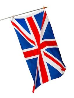 Wellenflagge des vereinigten königreichs lokalisiert auf weißem hintergrund