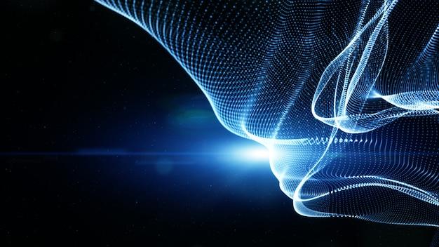 Wellenfluss und beleuchtung der digitalen partikel der blauen farbe. technologie abstraktes hintergrundkonzept. mit kopierraum