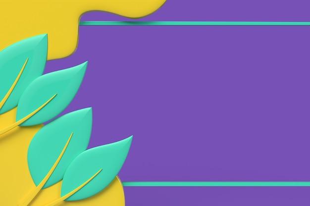 Wellenförmiger hintergrund blatt mit kopienraum. 3d-rendering-abbildung