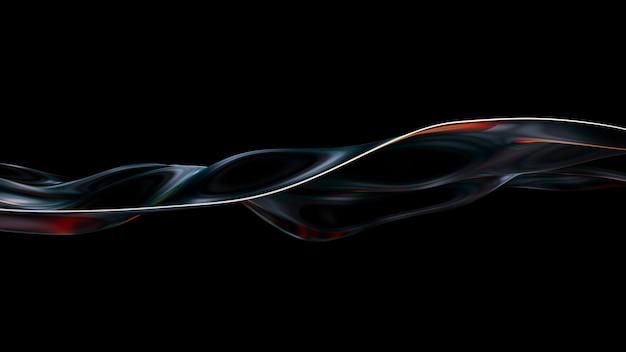 Wellenförmiger hintergrund der vibrierenden flüssigkeit. abstraktes irisierendes flüssiges rendern der 3d-illustration. neon holographisch glatte oberfläche mit bunten interferenzen. stilvolle spektrum-flow-bewegung.