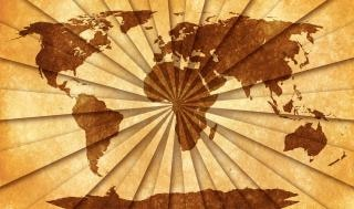 Welt grunge map kontinenten