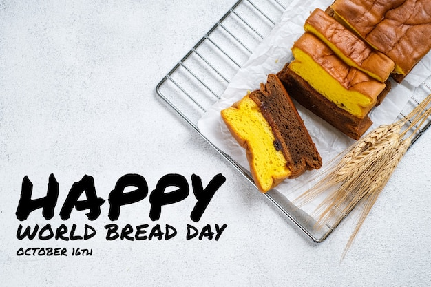 Weltbrottag-grußkartenillustration für ernährung und gesunde ernährung mit bunten umriss-stilikonen. beinhaltet gemüse, obst, brot, fleisch.