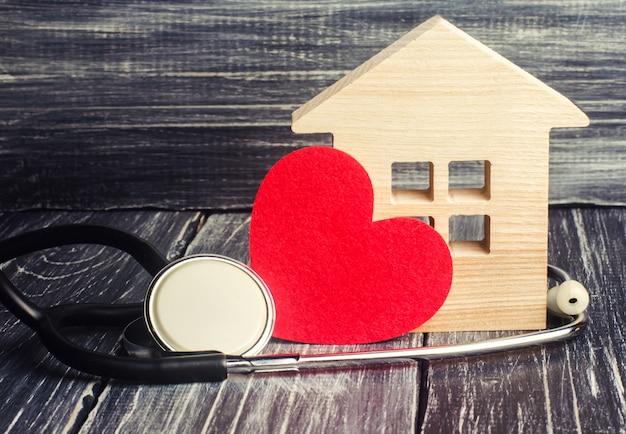 Weltgesundheitstag, das konzept der familienmedizin und versicherung. stethoskop und herz