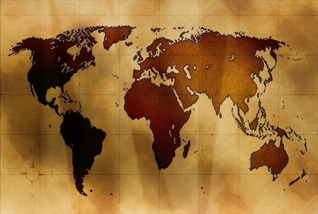 Weltkarte auf altem zerknittertem papier