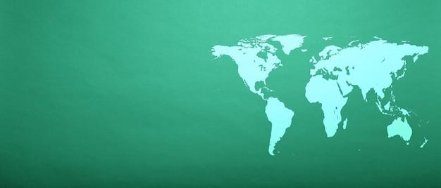 Weltkarte auf aqua menthe papier
