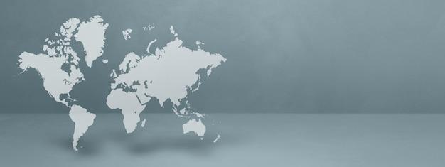 Weltkarte auf grauem wandhintergrund isoliert. 3d-darstellung.