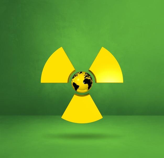 Weltkarte auf radioaktivem symbol. grüner studiohintergrund. 3d-illustration