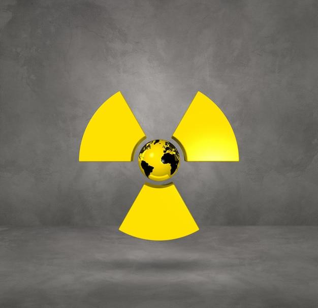 Weltkarte auf radioaktivem symbol. konkreter studiohintergrund. 3d-illustration