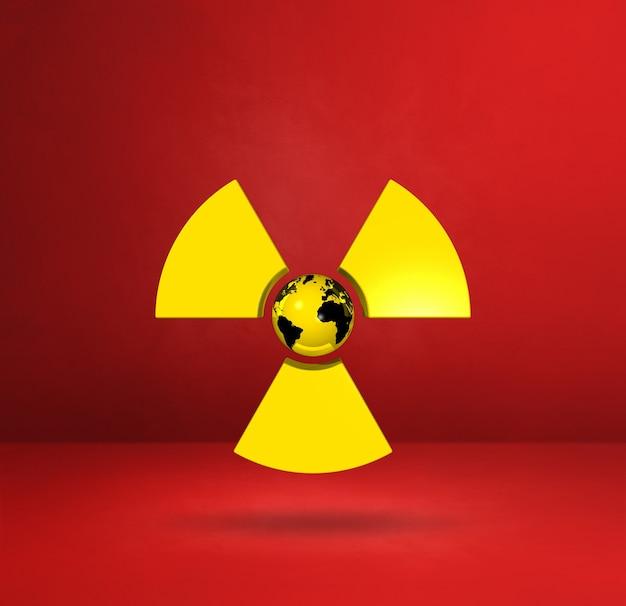 Weltkarte auf radioaktivem symbol. roter studiohintergrund. 3d-illustration