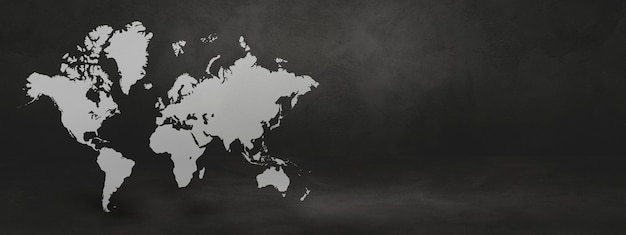 Weltkarte auf schwarzem betonwandhintergrund. 3d-darstellung.