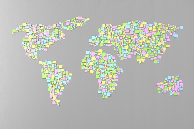 Weltkarte aus den aufklebern an der wand