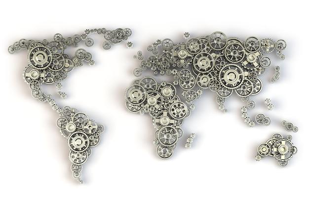 Weltkarte aus metallischen zahnrädern. globale wirtschaftsverbindungen und internationales geschäftskonzept.