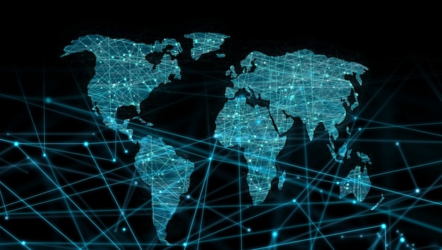 Weltkarte der gepunkteten linie links