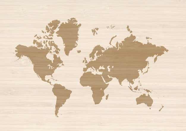 Weltkarte lokalisiert auf beige holzoberfläche