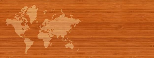 Weltkarte lokalisiert auf braunem holzwandhintergrund. horizontales banner