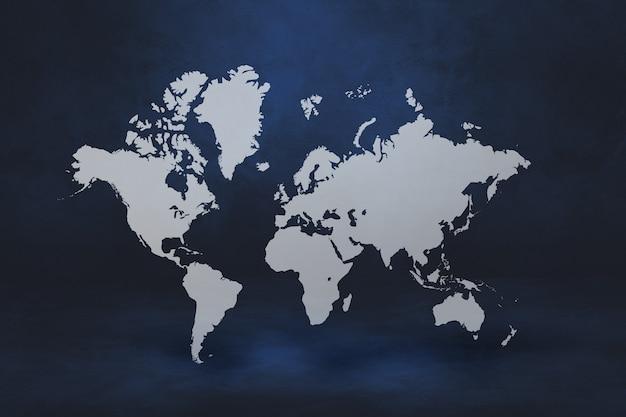 Weltkarte lokalisiert auf schwarzer wand