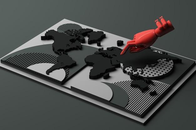 Weltkarte mit abstrakter zusammensetzung des menschlichen hand- und bombenkonzepts der geometrischen formenplattformen im schwarzen ton. 3d-rendering