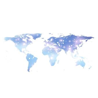 Weltkarte mit globalem technologienetzwerkkonzept. digitale datenvisualisierung. linienplexus. big-data-hintergrundkommunikation. wissenschaftliche abbildung.