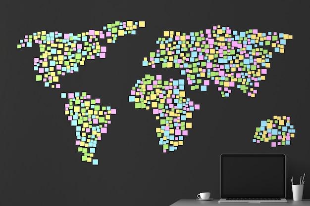 Weltkarte von den aufklebern an der wand geklebt