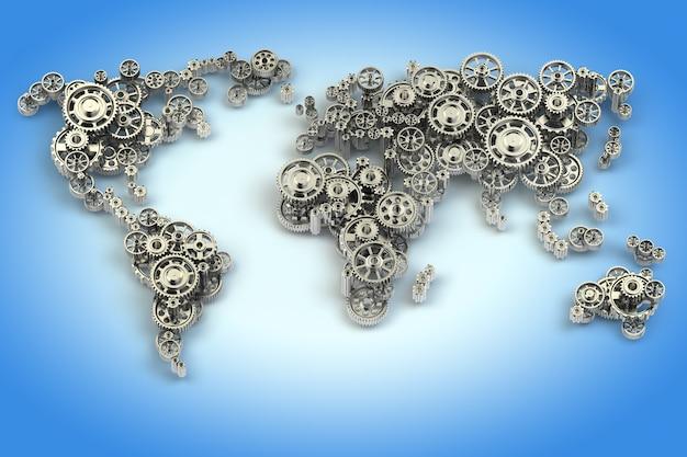 Weltkarte von zahnrädern. globale wirtschaftsverbindungen und internationales geschäftskonzept. 3d