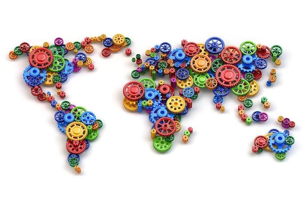 Weltkarte von zahnrädern