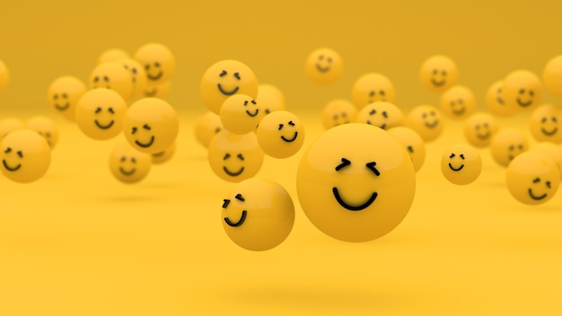 Weltlächeln tag lächeln emoji hintergrund 3d 3d-rendering 3d-darstellung