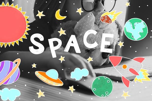 Weltraum-ikonen, die grafik-konzept zeichnen