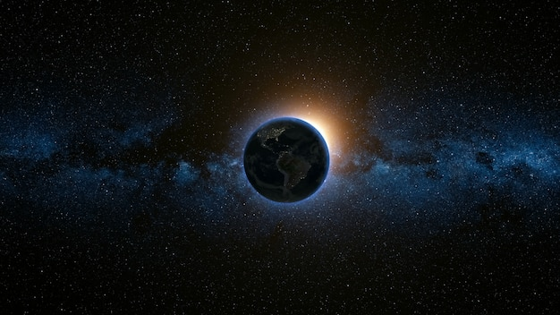 Weltraumansicht auf planet erde und sonne im universum