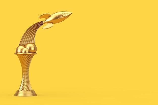 Weltraumforschungskonzept. golden award trophy fly up rocket auf gelbem grund. 3d-rendering