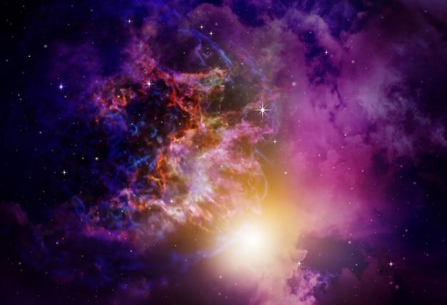 Weltraumnebel mit sternen hintergrund