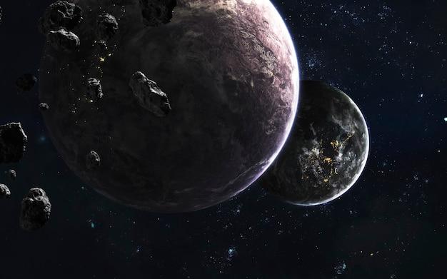 Weltraumplaneten, fantastische science-fiction-tapeten, kosmische landschaft. elemente dieses bildes von der nasa geliefert