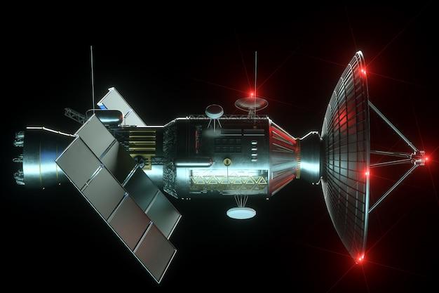 Weltraumsatellit mit antenne und sonnenkollektoren isoliert auf schwarzer wand. telekommunikation, highspeed-internet, sounding, weltraumforschung. 3d-rendering, 3d-illustration, kopierraum.