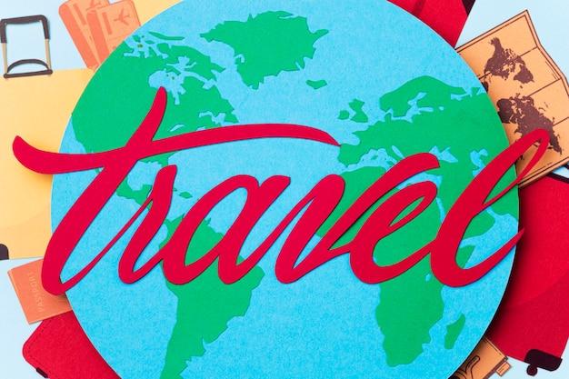 Welttourismus-tageskonzept mit beschriftung
