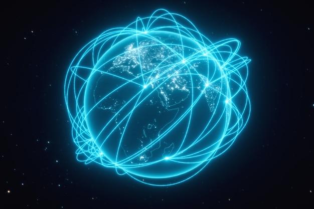 Weltverbindungen mit stadtlichtern