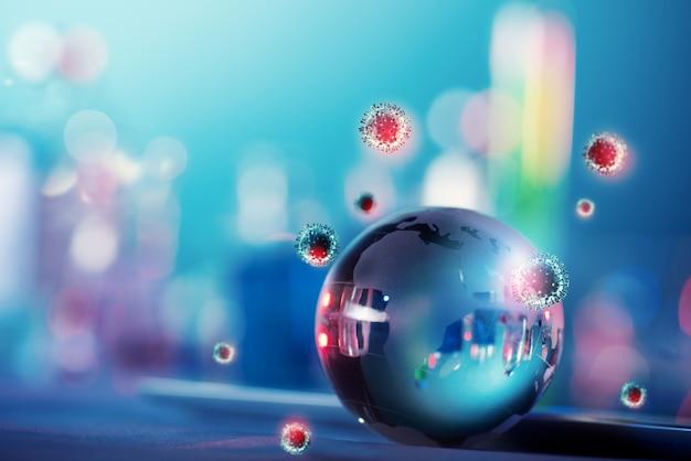Weltweites problem von 19 viren mit einer glaskugel
