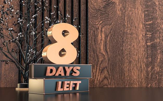Werbe 3d-rendering anzahl der tage links zeichen symbol design mit holz textur hintergrund
