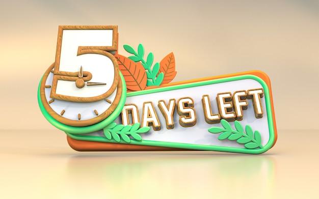 Werbe 3d-rendering anzahl der tage links zeichen symbol design