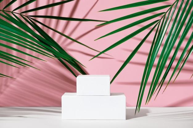 Werbeständer für kosmetikprodukte. ausstellung weißes podium mit geometrischen formen auf rosa hintergrund mit palmblättern und schatten. leerer sockel zur präsentation der produktverpackung. attrappe, lehrmodell, simulation.