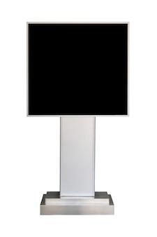 Werbeständerbrett mit schwarzem bildschirm lokalisiert auf weißem hintergrund