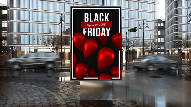 Werbetafel des schwarzen freitagswerbung auf dem 3d-rendering der innenstadt der stadt Premium Fotos