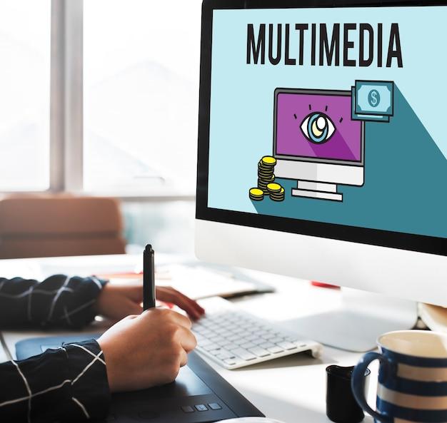 Werbung digitales marketing e-commerce multimedia-konzept