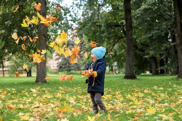 Werfender herbstlaub des jungen oben im park.