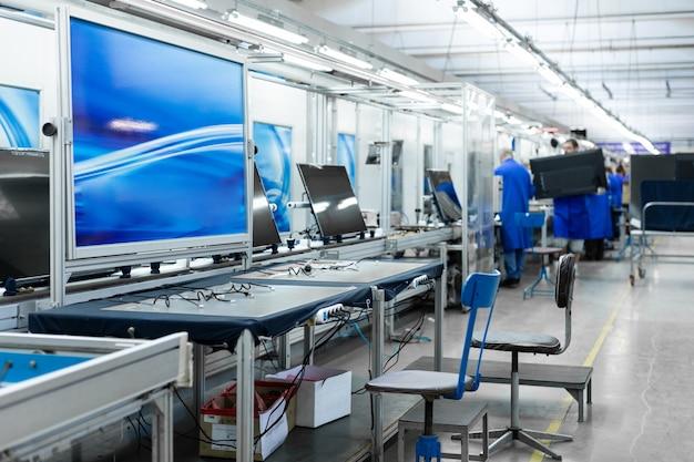 Werkstatt für die montage von fernsehgeräten