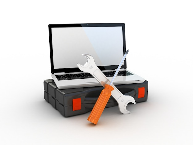 Werkzeuge auf dem laptop. 3d-illustration