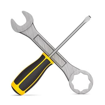 Werkzeuge auf leerraum. isolierte 3d-illustration